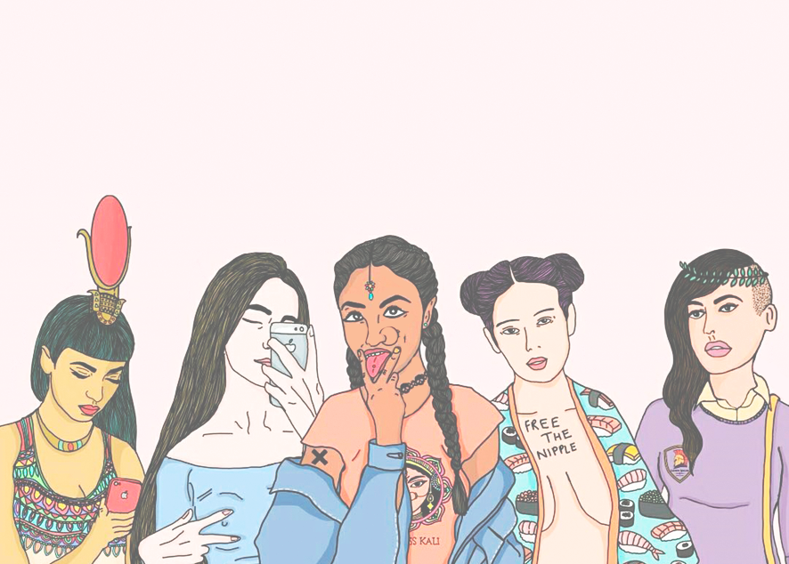 Приянка Паул и ее серия картин, показывающих древних богинь, таких, как Кали, Аматерасу и прочих, в образе современных девушек. И это ее ответ спорам о феминизме.