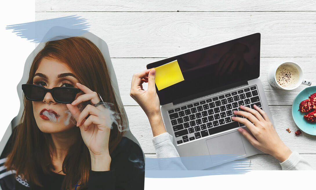 Утро консервативной девушки начинается с чашечки кофе и просмотром почты в ноутбуке.