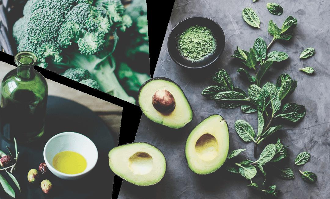 оливковое масло, авокадо и зеленые овощи полезны для организма и укрепления волос