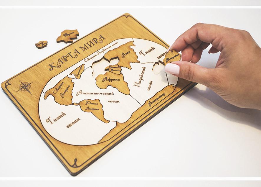 WoodPuzzle - оригинальный подарок, соединяющий в себе познавательный пазл и стильный декор интерьера.